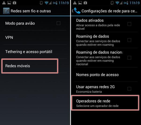 Abrindo as configurações de redes móveis