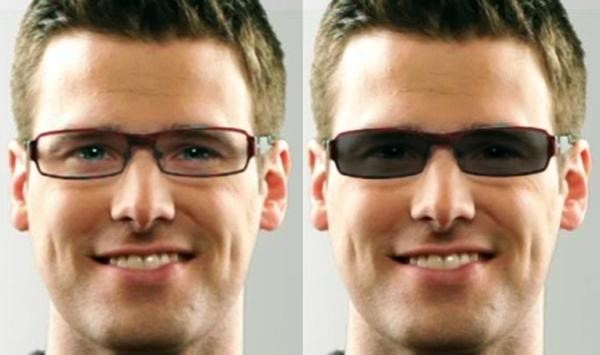 88f5de58597dc Os óculos Transitions mudam a tonalidade de acordo com a luz ambiente  (Fonte da imagem  Reprodução Transitions)