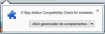 Complemento instalado no navegador