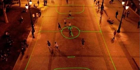 Imagem de Campanha da Nike utiliza projetores para criar um campo de futebol virtual no site TecMundo
