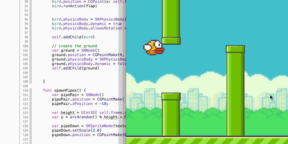 Imagem de Swift: linguagem de programação da Apple resultou em clone de Flappy Bird no site TecMundo