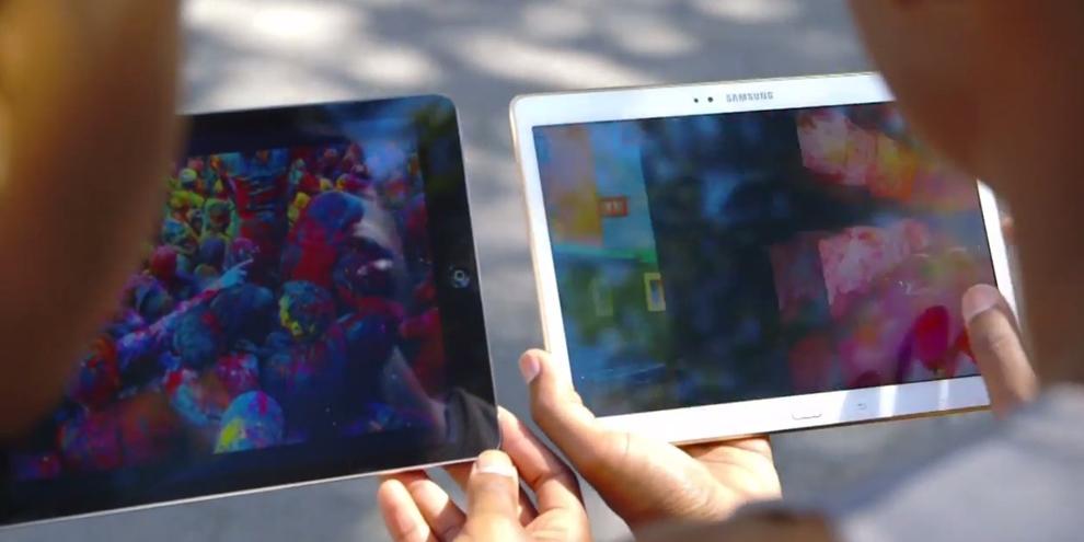 """Imagem de Samsung """"ataca"""" Apple em vídeo de comparação entre Galaxy Tab S e iPad Air no site TecMundo"""