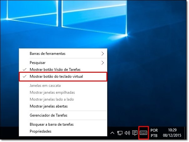 Resultado de imagem para ativar teclado virtual windows 10