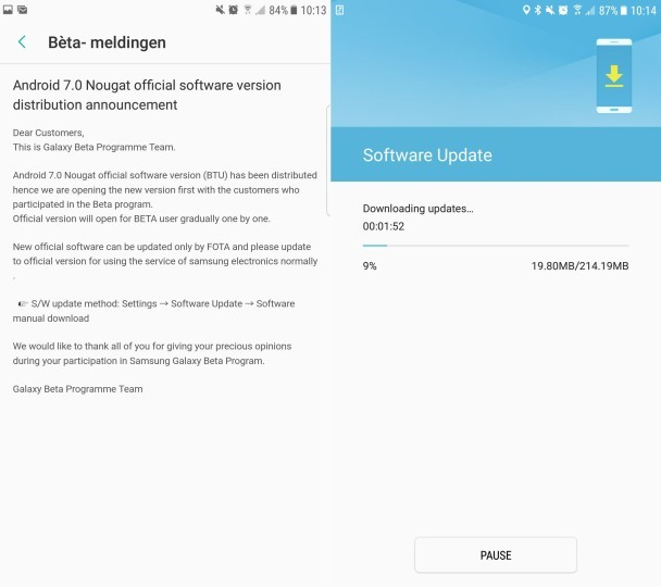 Samsung starts to release final version of Android Nougat for Galaxy S7