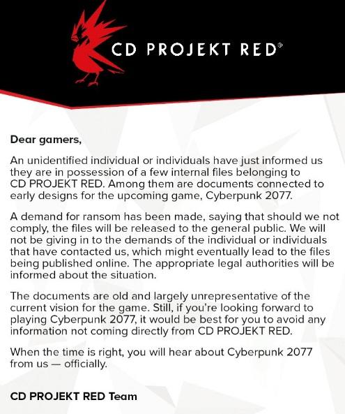 CD Projekt RED revela que foram roubadas informações sobre Cyberpunk 2077