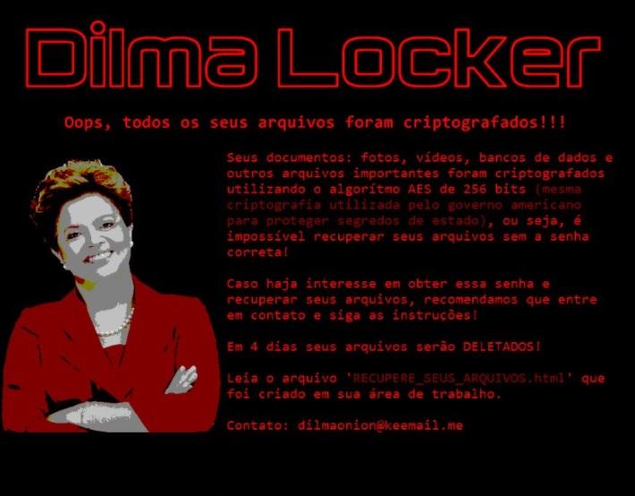 Ransomware com foto de Dilma