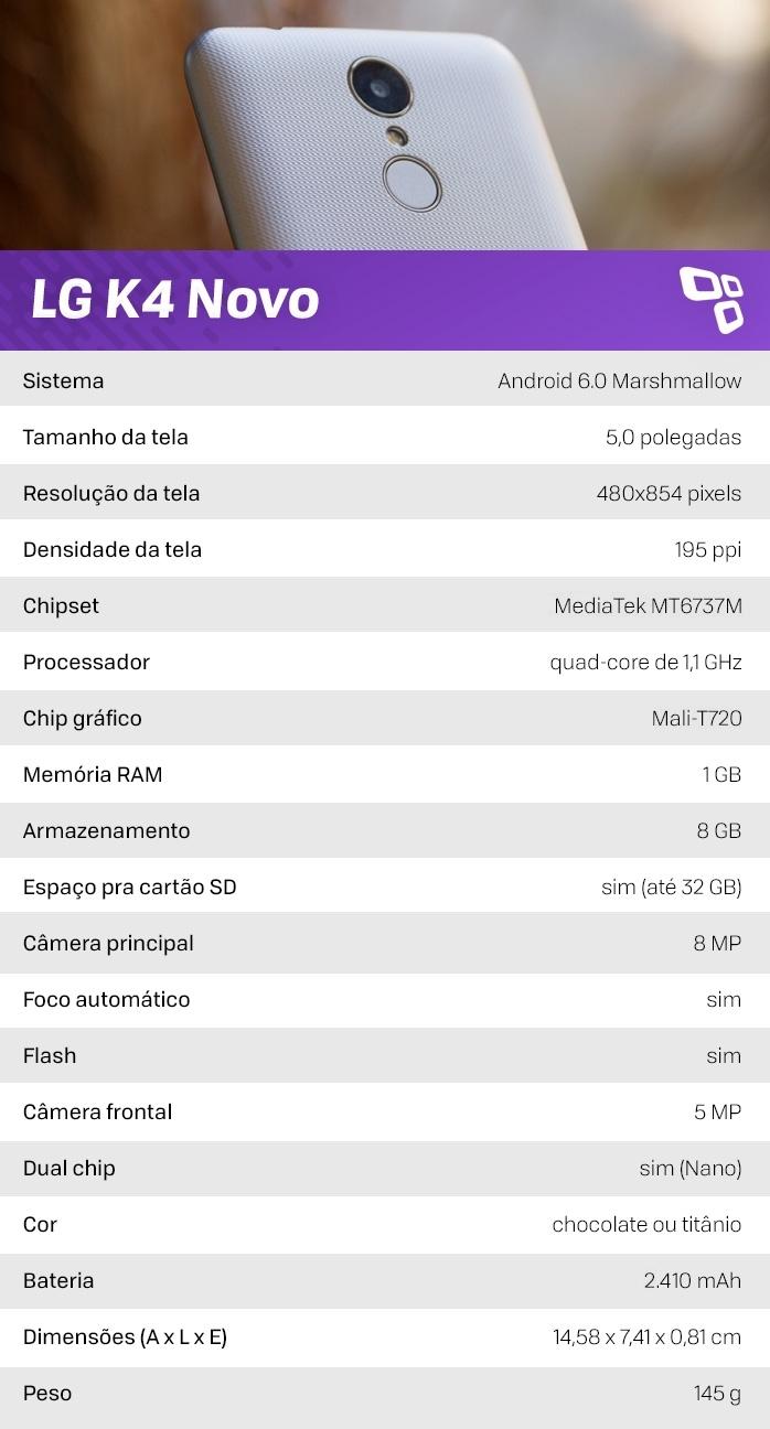 Especificações do LG K4 Novo