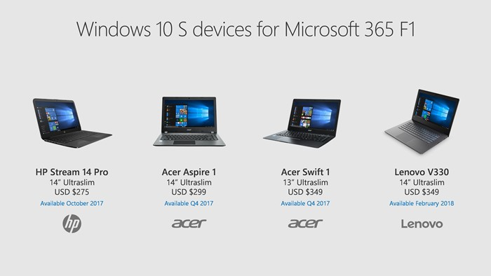 Novos PCs Windows 10 S