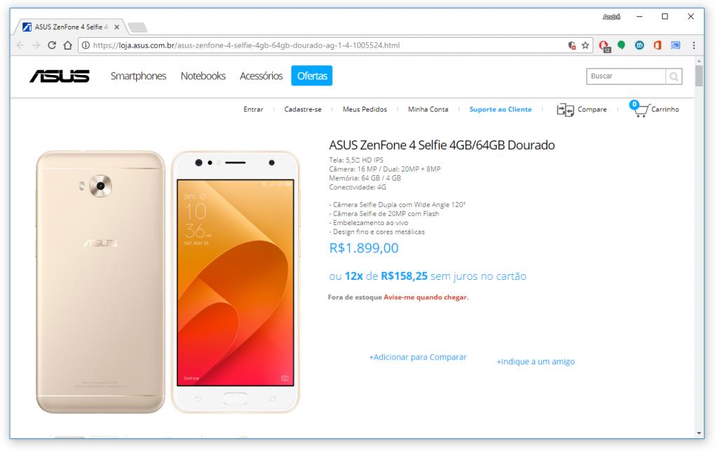 Zenfone 4 chega ao Brasil por R$ 1.899