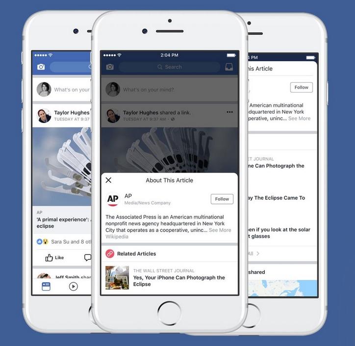 Botão de contexto no Facebook