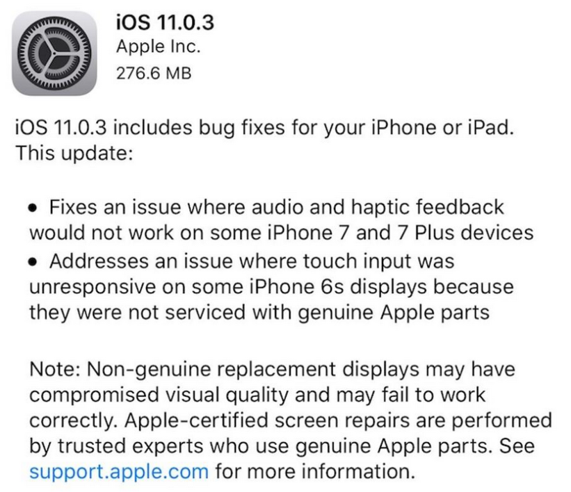 Apple disponibiliza iOS 11.0.3