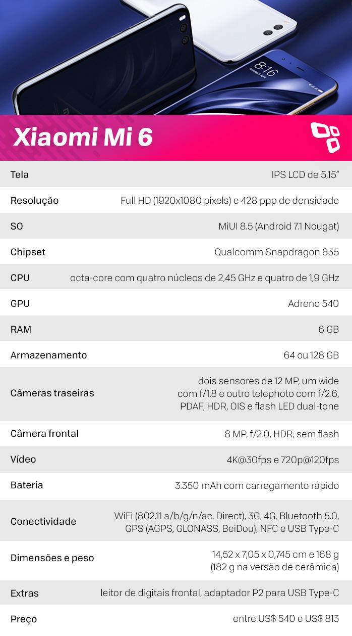 Xiaomi Mi 6 especificações