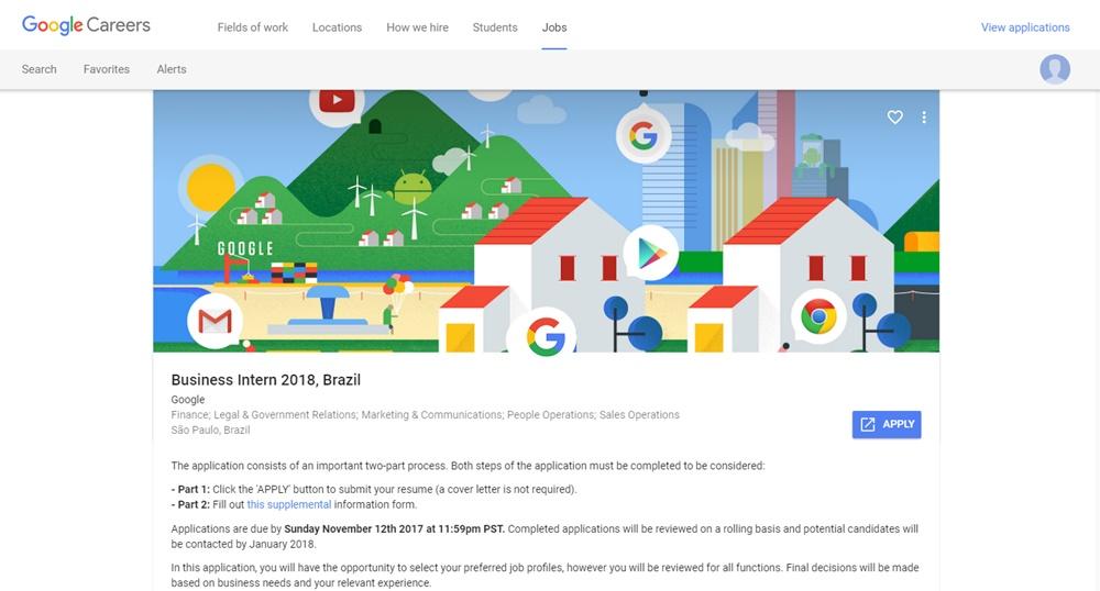 Google Brasil abre vagas de estágio para estudantes de todos os cursos