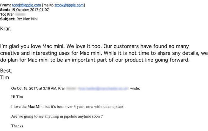 email mac mini tim cook