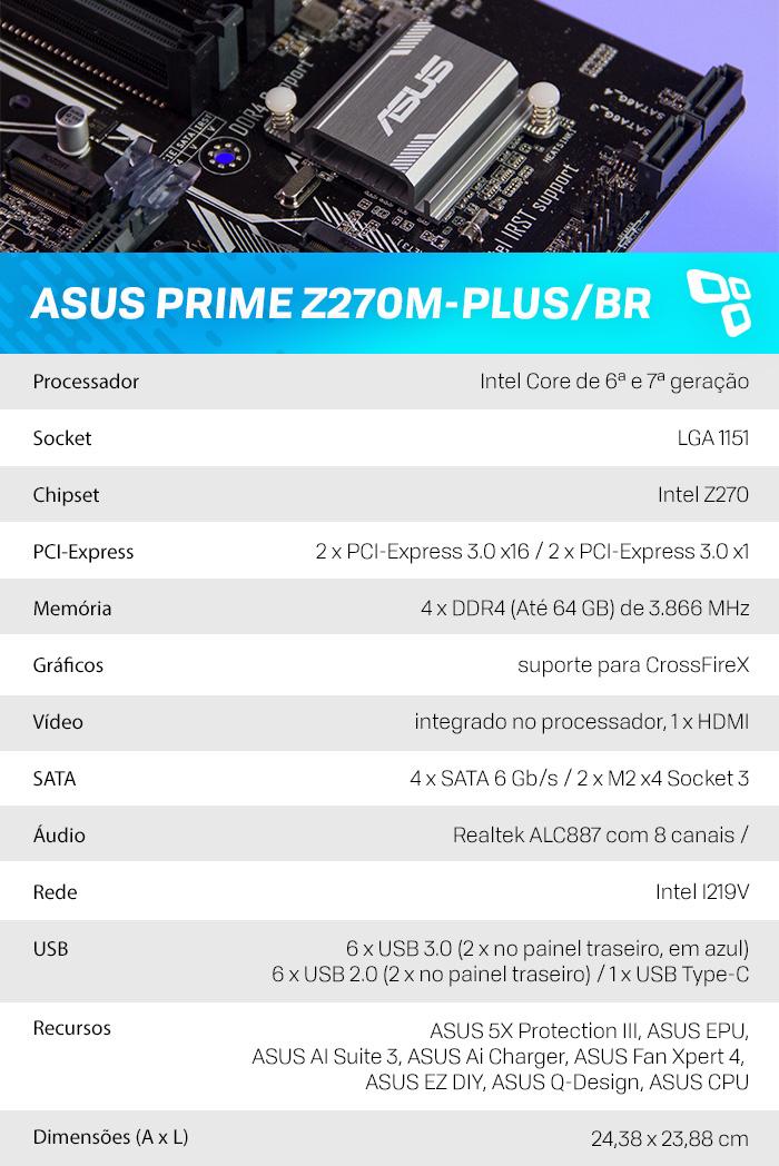 Especificações ASUS Z270M