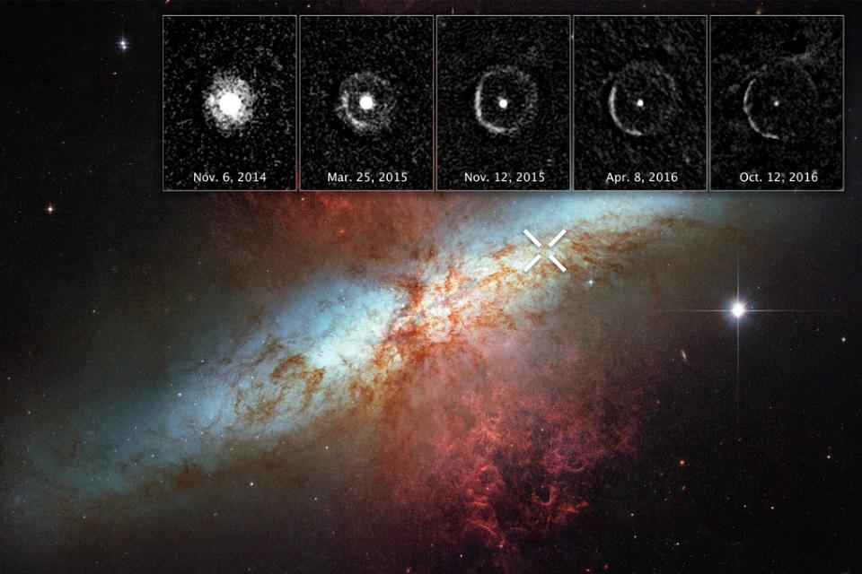 """Imagem de Telescópio Hubble captura """"eco luminoso"""" criado por supernova no tecmundo"""