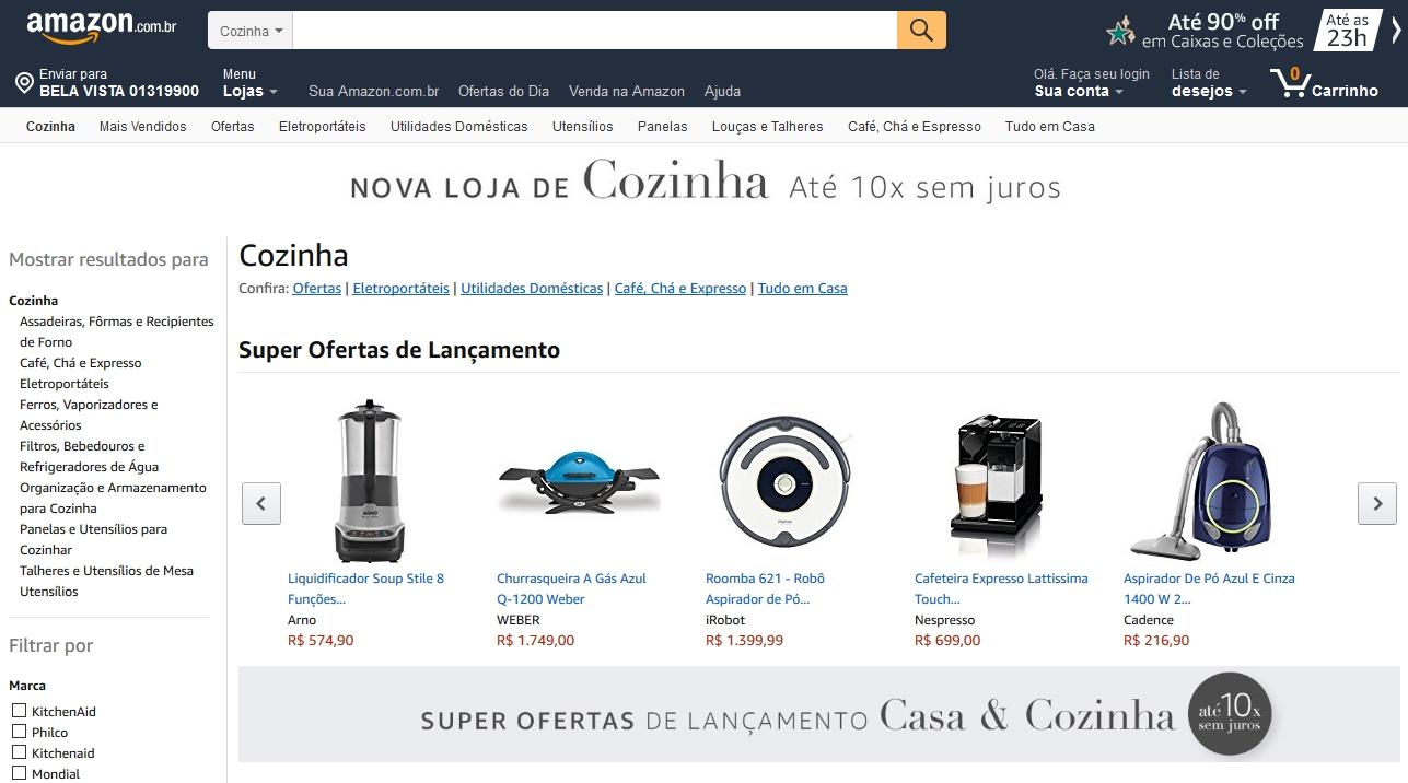 Amazon Brasil começa a vender eletrodomésticos e produtos para casa e cozinha
