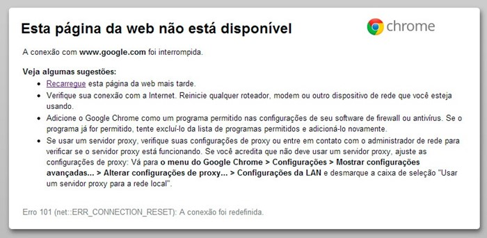 chrome fora do ar