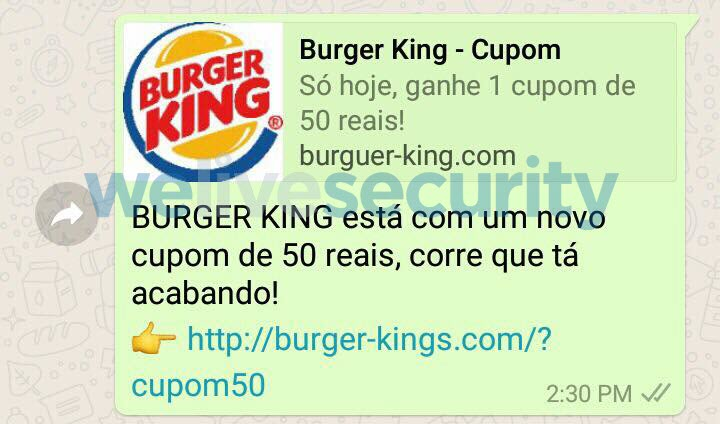 ''Burger King'' se torna isca para golpe no WhatsApp