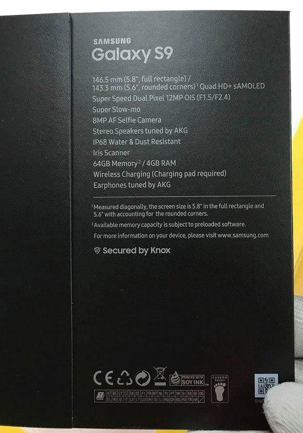 Imagem da caixa do Galaxy S9