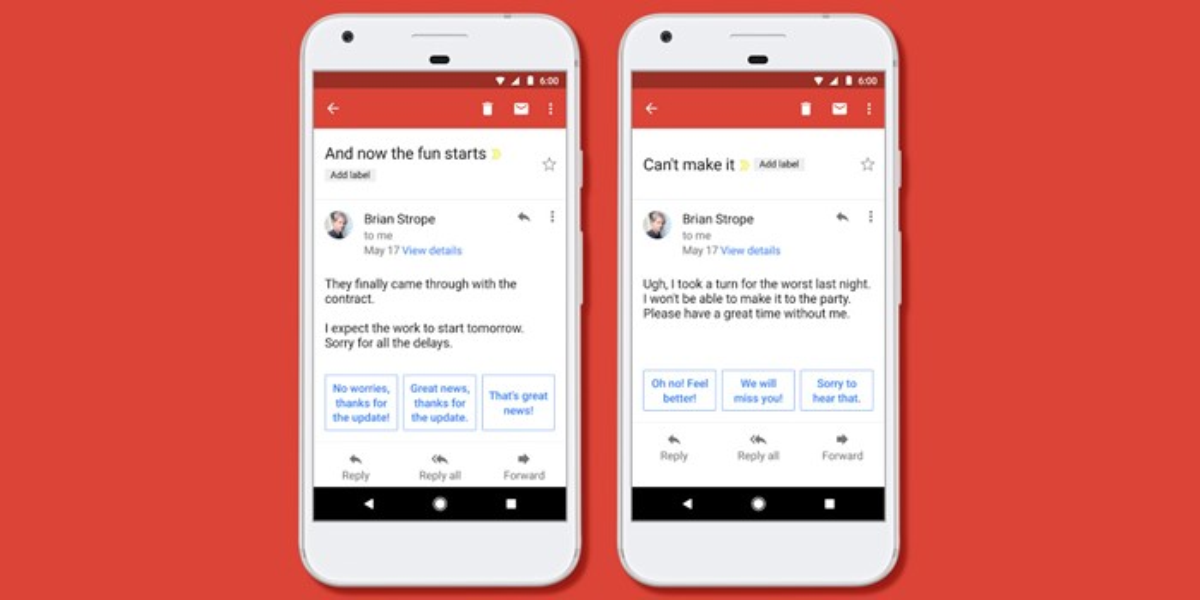 Respostas inteligentes Gmail