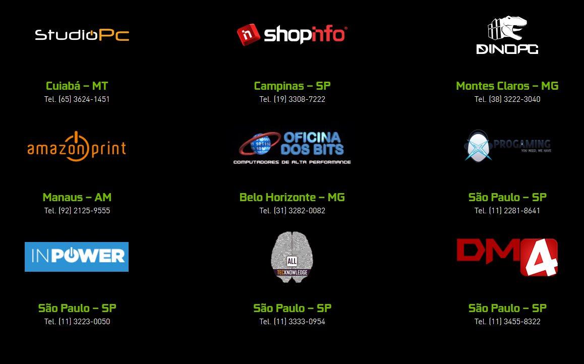 Lojas parceiras da NVIDIA