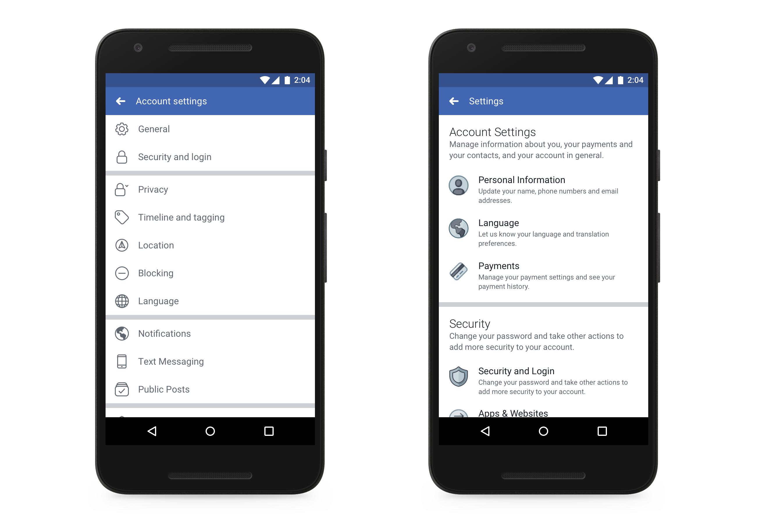 Comparação interface Facebook