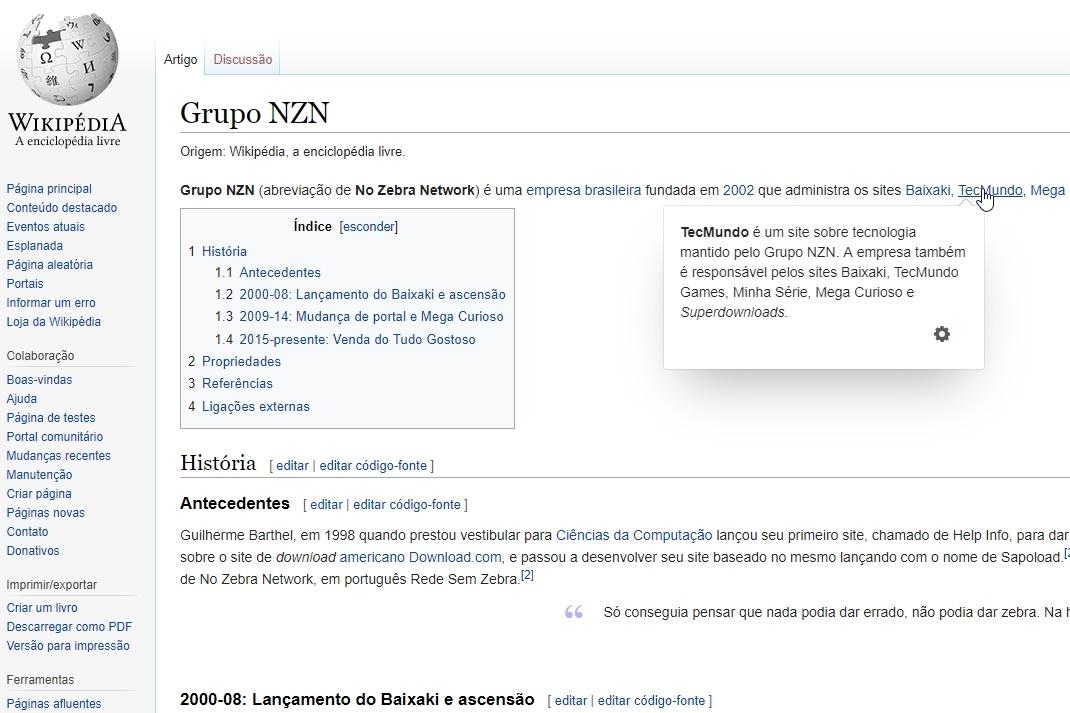 Imagem de Wikipédia ganha menu de pré-visualização para navegação mais informativa no tecmundo