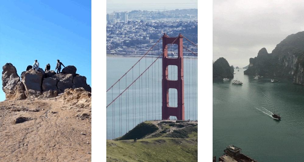 Três fotos.