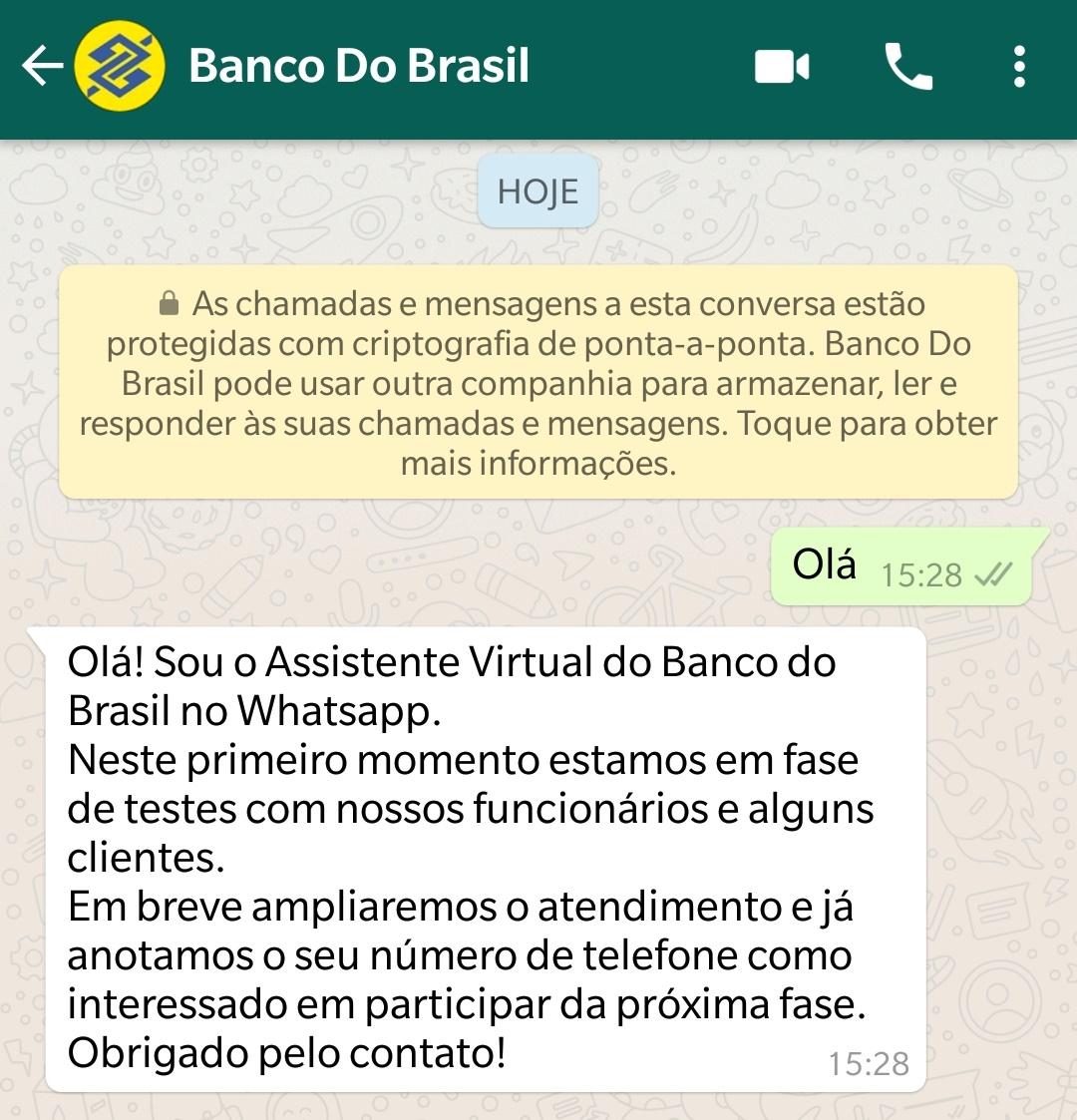 3c7a7fac599 Banco do Brasil começa a atender clientes pelo WhatsApp  entenda ...