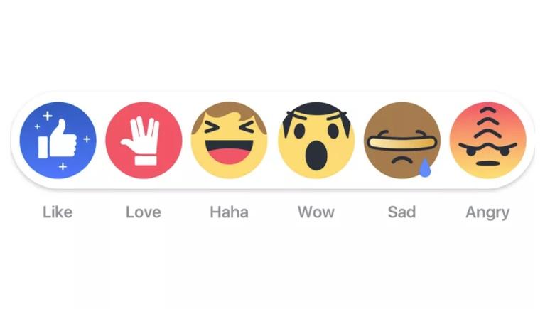 reações facebook