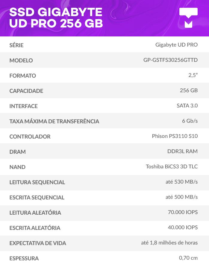 Dados SSD GIGABYTE UD PRO 256