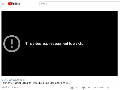 Mensagem do YouTube.