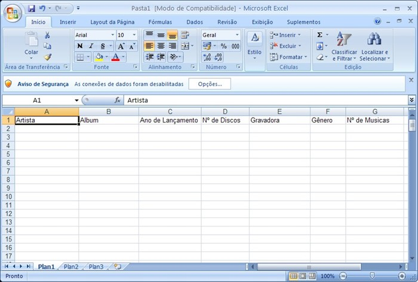 Inclua o cabeçalho para saber quais dados devemos inserir.