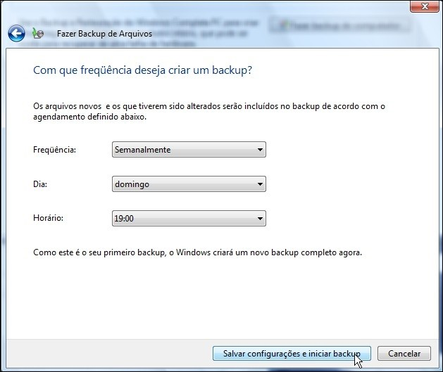 Agendando data e hora para seus backups.