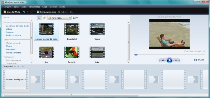 Abra o Windows Movie Maker e importe os vídeos.