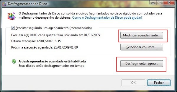 Desfragmentador do Windows.