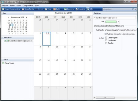 Calendário do Windows Vista