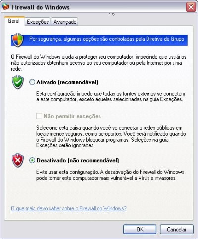 Janela do Firewall do Windows
