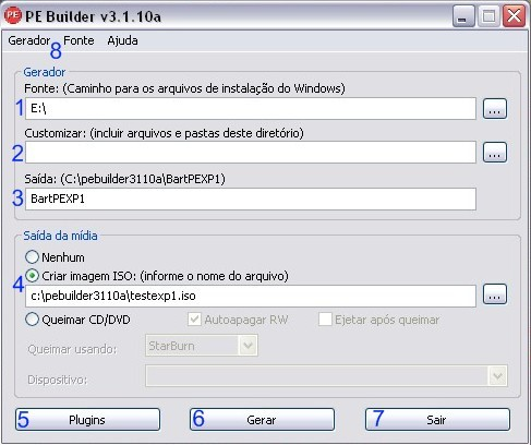 Tela principal do PE Builder